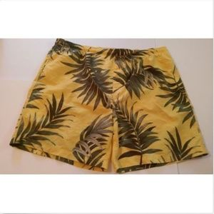 Puritan Men's Swim Trunks Large Yellow Palms